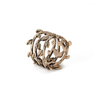Etched Leaf Statement Ring