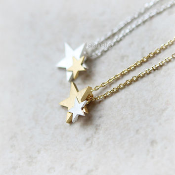 Gold and Silver Stars Necklace