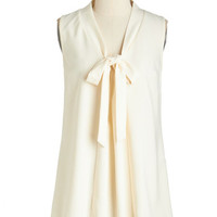 ModCloth Nautical Mid-length Sleeveless Happiest of Hours Top in Ivory