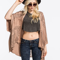 Blu Pepper Lace Back Womens Kimono Brown  In Sizes