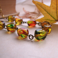 Fall color necklace with vintage glass beads