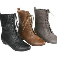 Refresh Lee-01 Women's Mid Calf Combat Boots on Oxford Structure