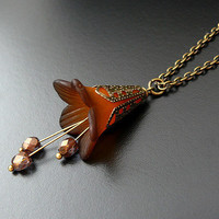 Chocolate Brown Lily Necklace Champagne Victorian Flower by skaior