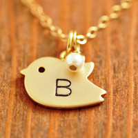 Handstamped Bird Necklace - initial necklace, birthstone necklace, mom necklace, gold bird necklace, monogrammed necklace