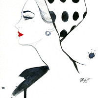 Watercolor Fashion Illustration Polka Dot by JessicaIllustration