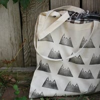 Mountain Canvas Tote Bag Back to School Block Print in Black ink