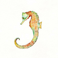 Seahorse Song  /teal, orange, blue, green, yellow Watercolor/ Archival Print