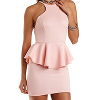 Racer Front Backless Peplum Dress by Charlotte Russe - Blush