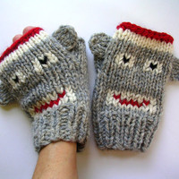 Sock Monkey Fingerless Mittens - Adult Fingerless Gloves-Mittens