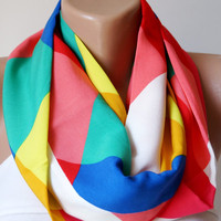 Rainbow Colors  Infinity Scarf loop circle square handmade from Fabric linen