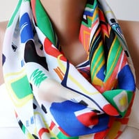 Rainbow Colors  Infinity Scarf loop circle geometric design handmade from Fabric linen