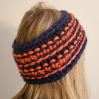 Orange And Navy Blue Chunky Knit Headband Headwrap Chicago Bears Colors Football