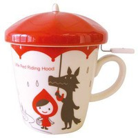 Teacup Mug with Strainer Infuser Little Red Riding Hood
