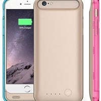 iPhone 6 Battery Case [Apple MFi Certified] Elivebuy® 3100mah Extended Battery Case for iPhone 6 (4.7 inch),Micro USB Input (Black - Purple & Black Bumpers)