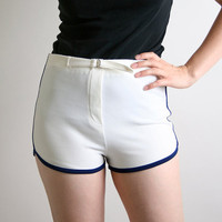 Vintage Tomboy Shorts Pure White Bike Shorts Sporty Sports Small - Running Track