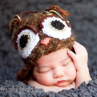 Fuzzy Owl Hat  Brown  Great Photographers Prop by Emerald69