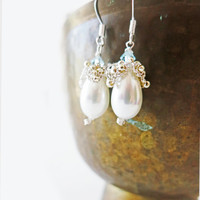 Bridal Pearl Earrings, Pearl and Crystal Earrings, Drop Pearl Wedding Earrings, Teardrop Earrings, White Wedding Jewelry