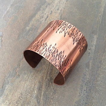 Wide Copper Cuff Bracelet, Hammered Cuff Bracelet