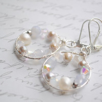 Petty Pearl Hoop earrings-  Silver wire, pearls, czech glass, swarovski crystal