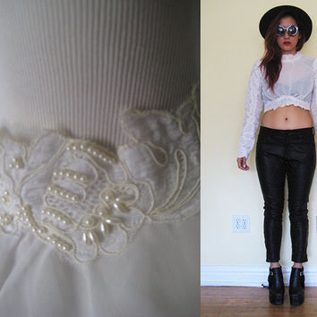 Vintage 70's 80's lace chiffon pearl embroidered floral flower sheer puff sleeves cropped