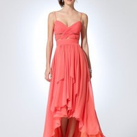 A-line Spaghetti Straps Asymmetrical Chiffon Formal Dress With Pleating at Msdressy