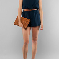 Milky Way Jeans Taste of Lace Romper in Navy :: tobi