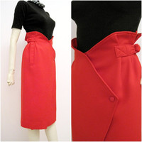 80s Skirt Vintage 80s Courreges Designer Wrap Pencil Skirt M Red