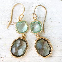 Storm Grey and Sea Glass Gold Earrings