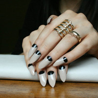 Rihanna Inspired Half-Moon Stiletto Nails