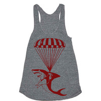 Womens Shark Paratrooper Tri-Blend Racerback Tank Top - American Apparel - XS, S, M, and L (9 Color Options)