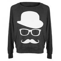 Womens MUSTACHE Hat Wayfarer Tri-Blend Raglan Pullover - American Apparel - S M and L (8 Color Options)