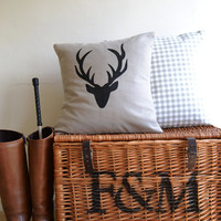 Deer Pillow  / Stag Antlers Silhouette Cushion