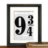 Harry Potter Art Print Decor - Platform Nine and three-quarter on Potter Book Page - MATTED