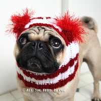 Dog Hat - Candy Cane Hat - The Original Pug Hat