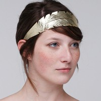 Feather Leather Headband in Gold
