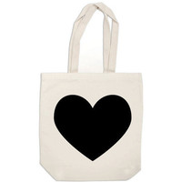 canvas tote bag - black heart bag - book bag tote