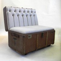 Suitcase Chair -Linen Trunk  Seating  Recreate