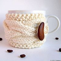 White Cup Cozy Mug Sleeve Cream Ecru Ivory Vanilla by natalya1905