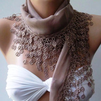 ON SALE Cotton scarf -Soft  Scarf......Stone Color....Elegance Scarf - Shawl
