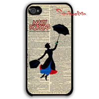 Mary Poppins iphone 4 case, iphone case, iphone 4s case, iphone 4s, iphone 4 cover, black iphone hard case, iphone 4, iphone