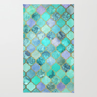 Cool Jade & Icy Mint Decorative Moroccan Tile Pattern Rug by Micklyn