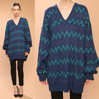 zig zag oversized sweater // blue emerald green // vintage 80s //  crew neck //  boyfriend slouchy // unisex one size