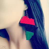 Wood African Flag Earrings