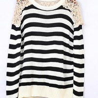 Striped Round Neck Black Sweater with Lace$44.00