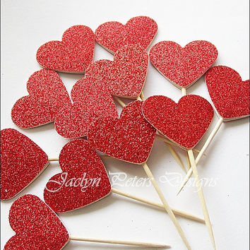 Valentines Day, Cupcake Toppers, Red Glitter Hearts, Double Sided,  Appetizer Picks, Party Decoration, Dessert Buffet Supply, Set Of 12