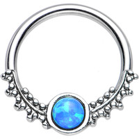 "14 Gauge 1/2"" Synthetic Blue Opal Drops of Dew Captive Ring 
