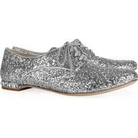 Miu Miu | Glitter-finished leather brogues | NET-A-PORTER.COM