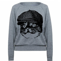 Womens Cat Hooligan Tri-Blend Raglan Pullover - American Apparel - S M and L (8 Color Options)