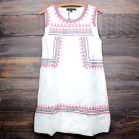 boho chic red embroidered white shift day dress