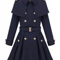 Navy Double Breasted Cape Collar Skirt Hem Woolen Coat$98.00